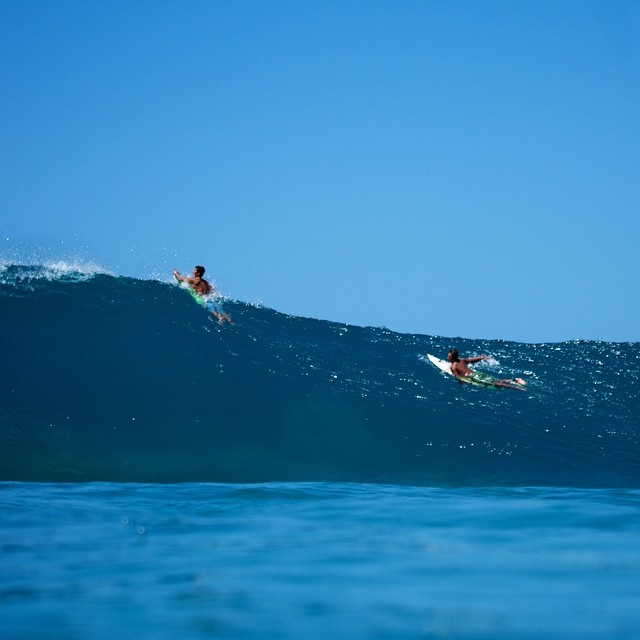 Two pairs of noRep boardshorts making its way over a clean set in an empty line up. Wanna get a closer look at the designs? Check 'em out at norepboardshorts.com! #surf #hawaii