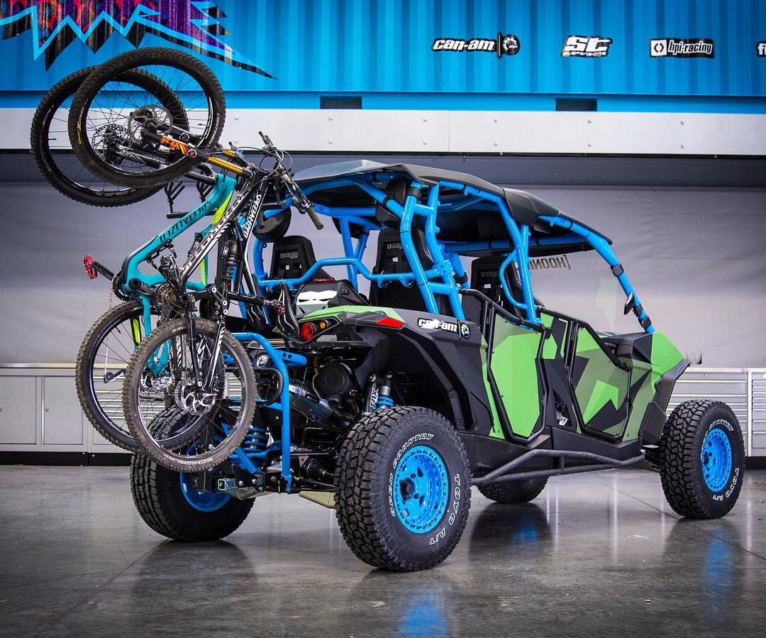 "I'm really stoked on both of my @CanAmOfficial Maverick-X RS Turbo UTVs, but this is probably my favorite feature so far: a bike rack on the 4-seater ""Family Adventure Hauler"". That means running bikes up any of the countless downhill MTB hills here in..."
