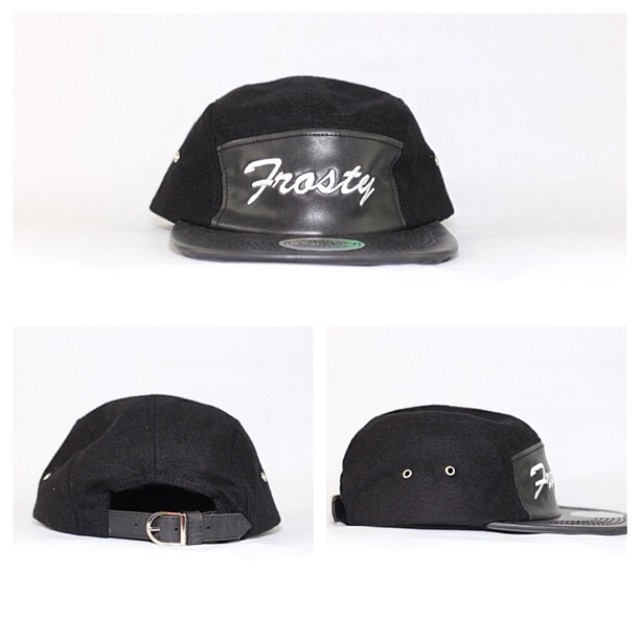 Limited edition leather #5panel @frostyheadwear hat on sale through www.frostyheadwear.com and soon to be only available on www.buildauthentic.com @buildauthentic❄️
