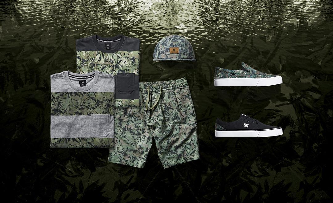A new take on camo, the Watercolor Camo Collection features a saturated brushed watercolor camo pattern. See all of the pieces in the collection at: dcshoes.com/watercolor camp. #dcshoes