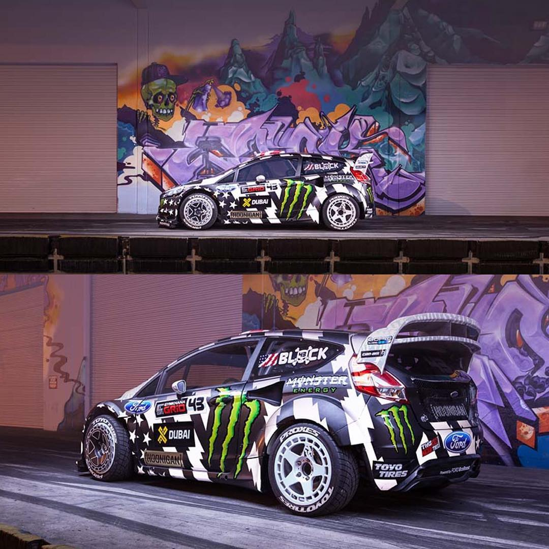 Love these shots of the #GymkhanaEIGHT Ford Fiesta RX43 at the @TheHoonigans Donut Garage in Long Beach, CA. Racecars and graffiti, two of my favorite things. Repost from @TheHoonigans. Wallpapers of these shots and more can be found at Hoonigan.com....