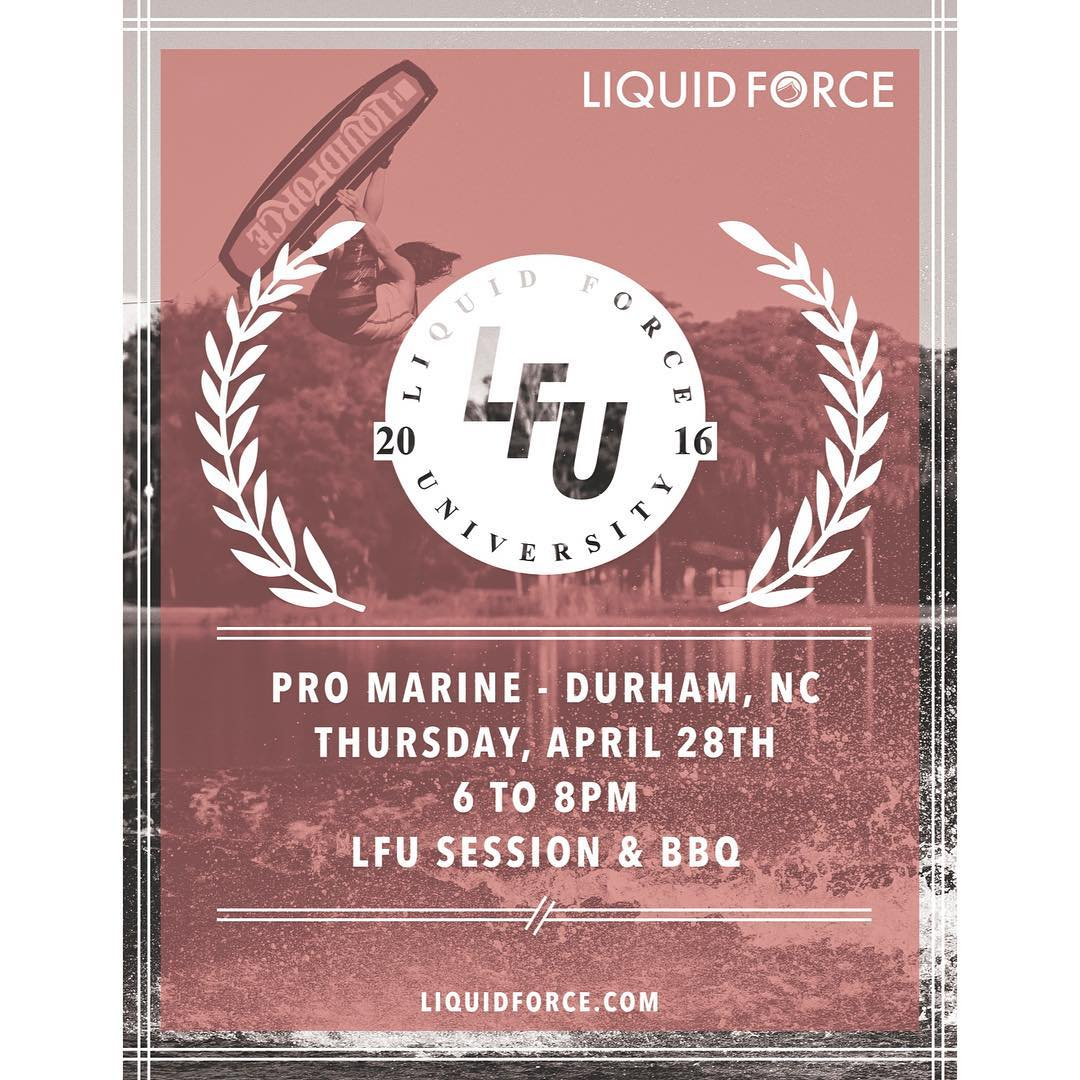 LFU class is in session tomorrow night at @promarinewake!  Learn all about the new '16 LF line, grab some free BBQ, and hang with @drayhampson, @shawnmwatson & @bobsoven
