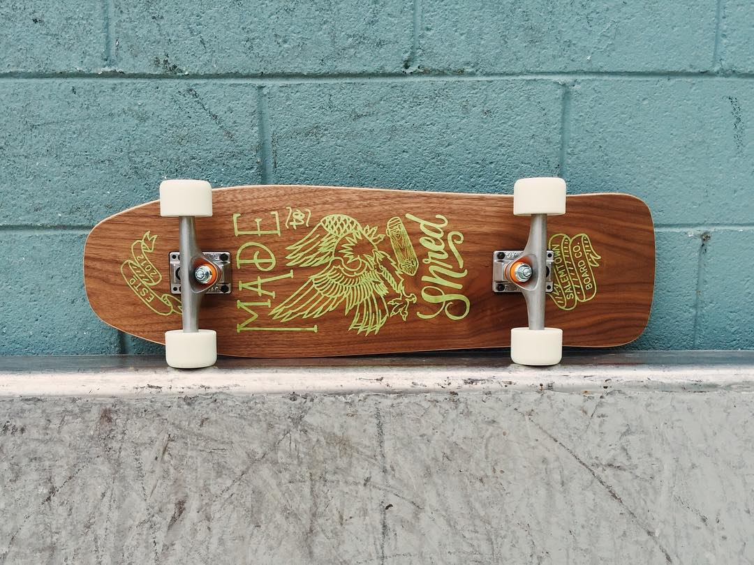 Chipper shape with Walnut bottom layer. Beautiful board ready to shred.