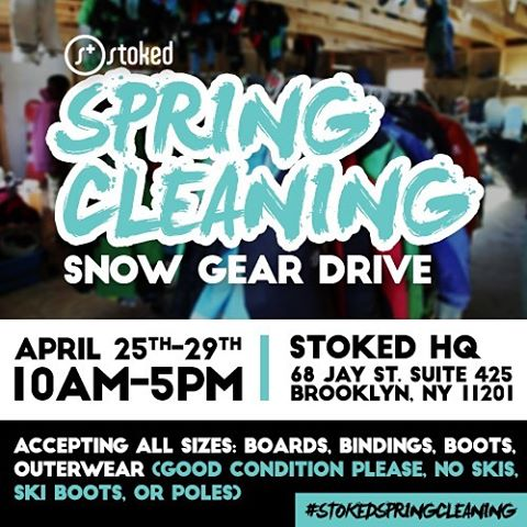 This week we are collecting gently used snow gear (all sizes) at our office. Come by, donate your items and help our kids have a rad snow season next winter! Stop by from 10-5 at 68 Jay St, Suite 425 in DUMBO #stokedspringcleaning