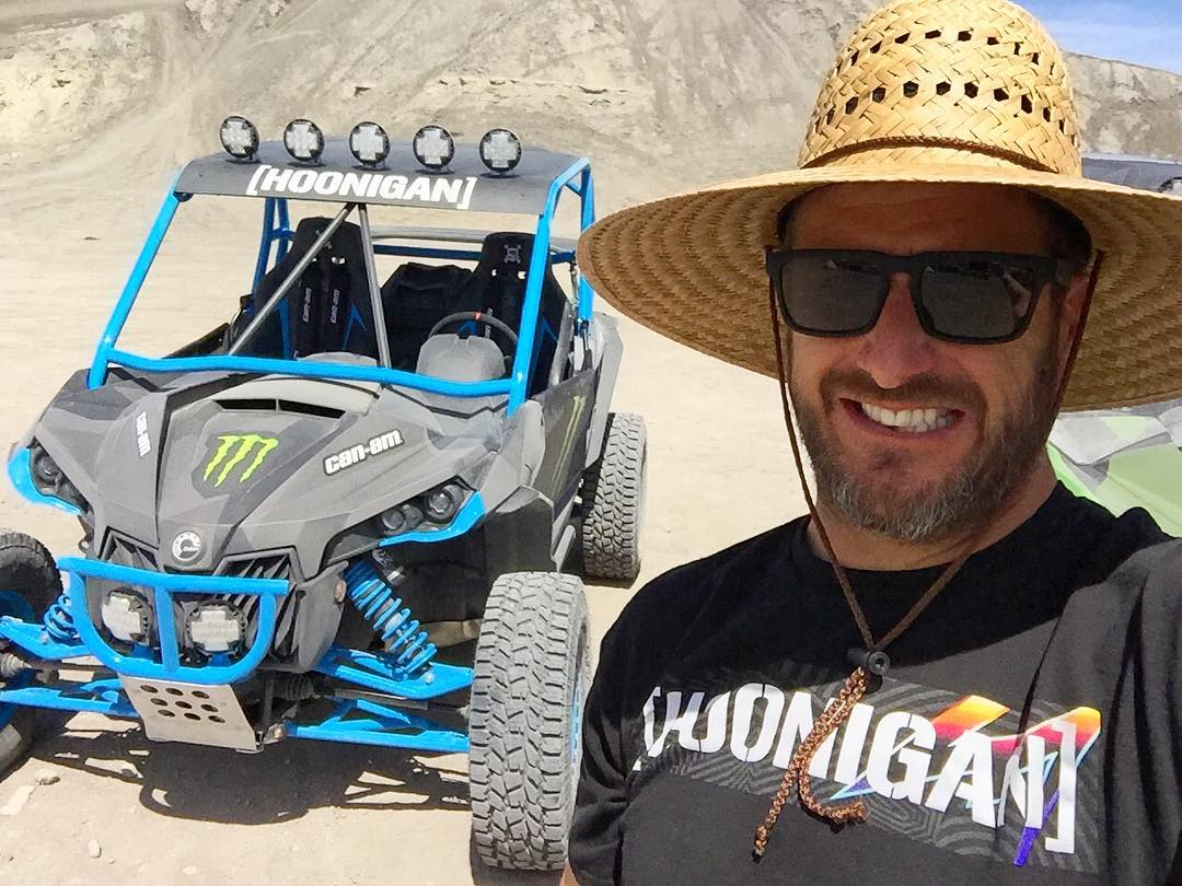 Desert. Sun hat. Turbocharged Can-AmMaverick . Dust-covered #HooniganRacingbyFelipePantone shirt. It's never a bad time with the toys out here in desert of southern Utah. #DesertDestroyer #CanAm #MaverickXRS #CanAm_by_KenBlock