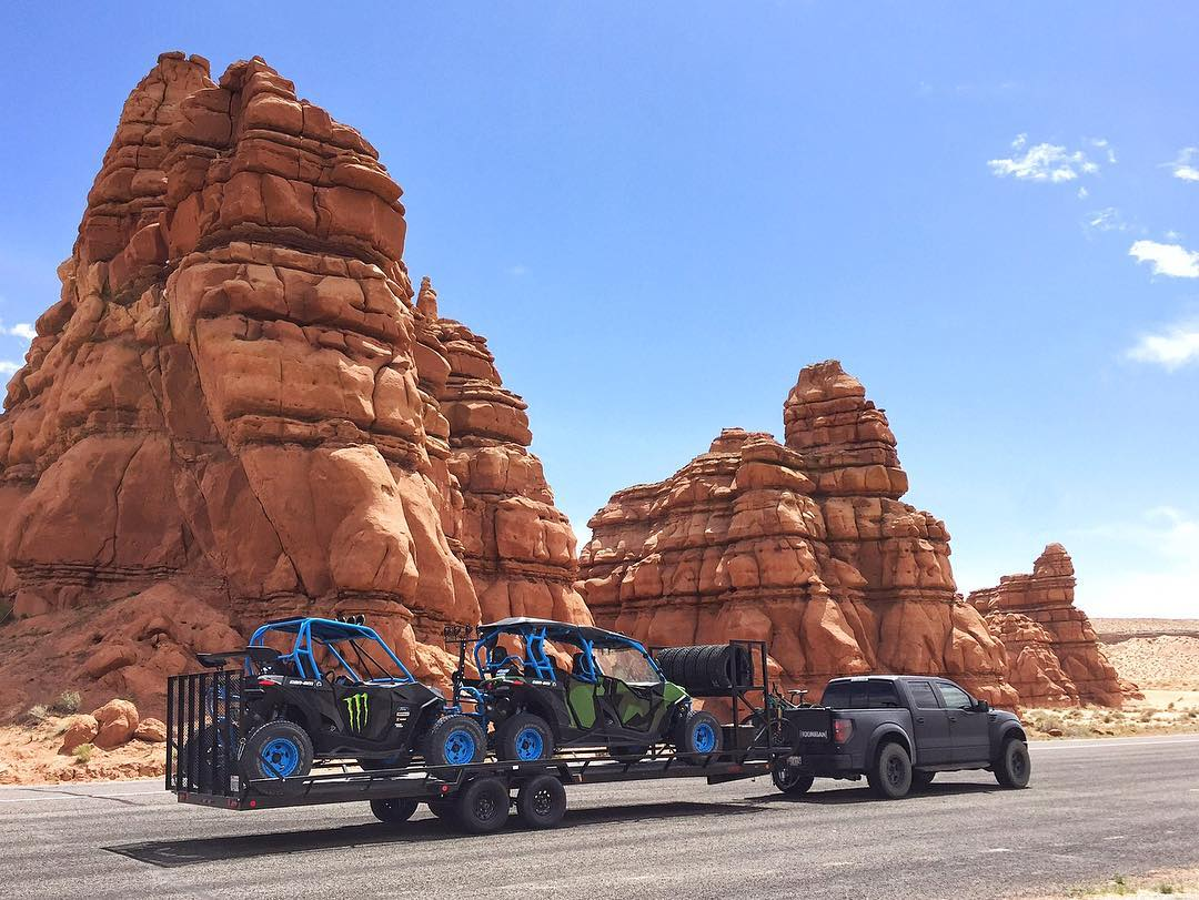 Quick Mars-esque landscape photo before going into Swingarm City, Utah last week with the Can-Ams and my Raptor. I love how bizarre this place looks. #DesertDestroyer #FamilyHauler #CanAm #MaverickXRS #CanAm_by_KenBlock #FordRaptor