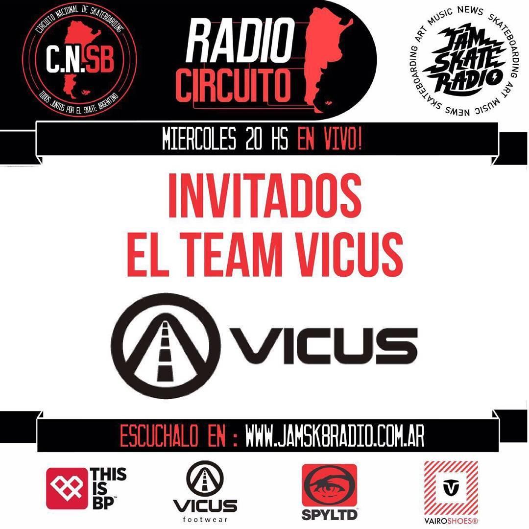 Hoy todos conectados a @jamsk8radio y el @circuitonacionalsb junto al Team Vicus como invitados especiales!