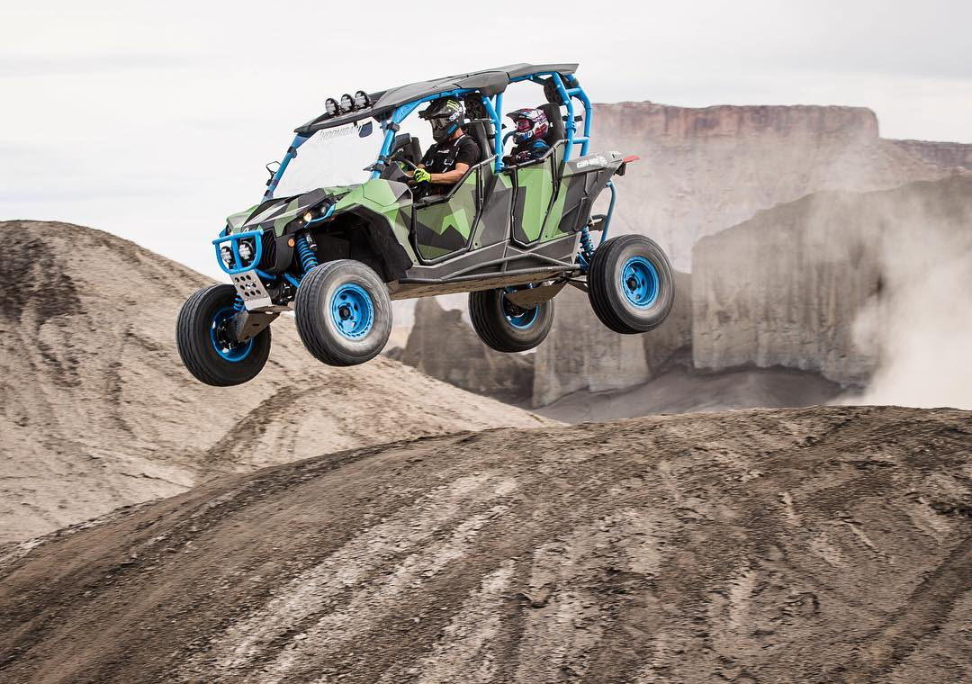 "This may be my favorite family photo ever! My kids keep telling me ""faster"" and ""more jumps please, Daddy"". How can I argue with that? Ha. Thanks again to @canamofficial for the very fun Maverick-X RS Turbo UTV. #FamilyHauler #CanAm #MaverickXRS..."