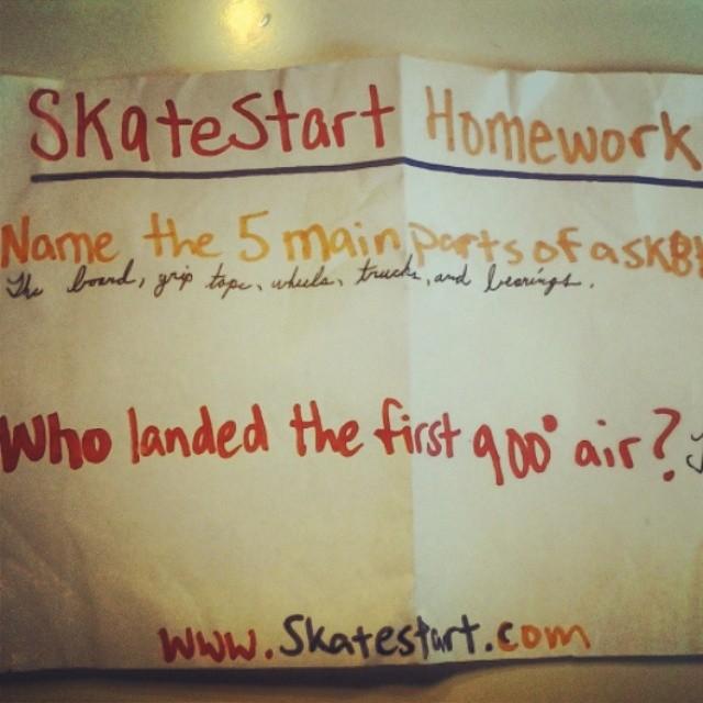 Skatestart homework isn't that hard. Perfecting your cursive is. #cursive #giveback #thefuture
