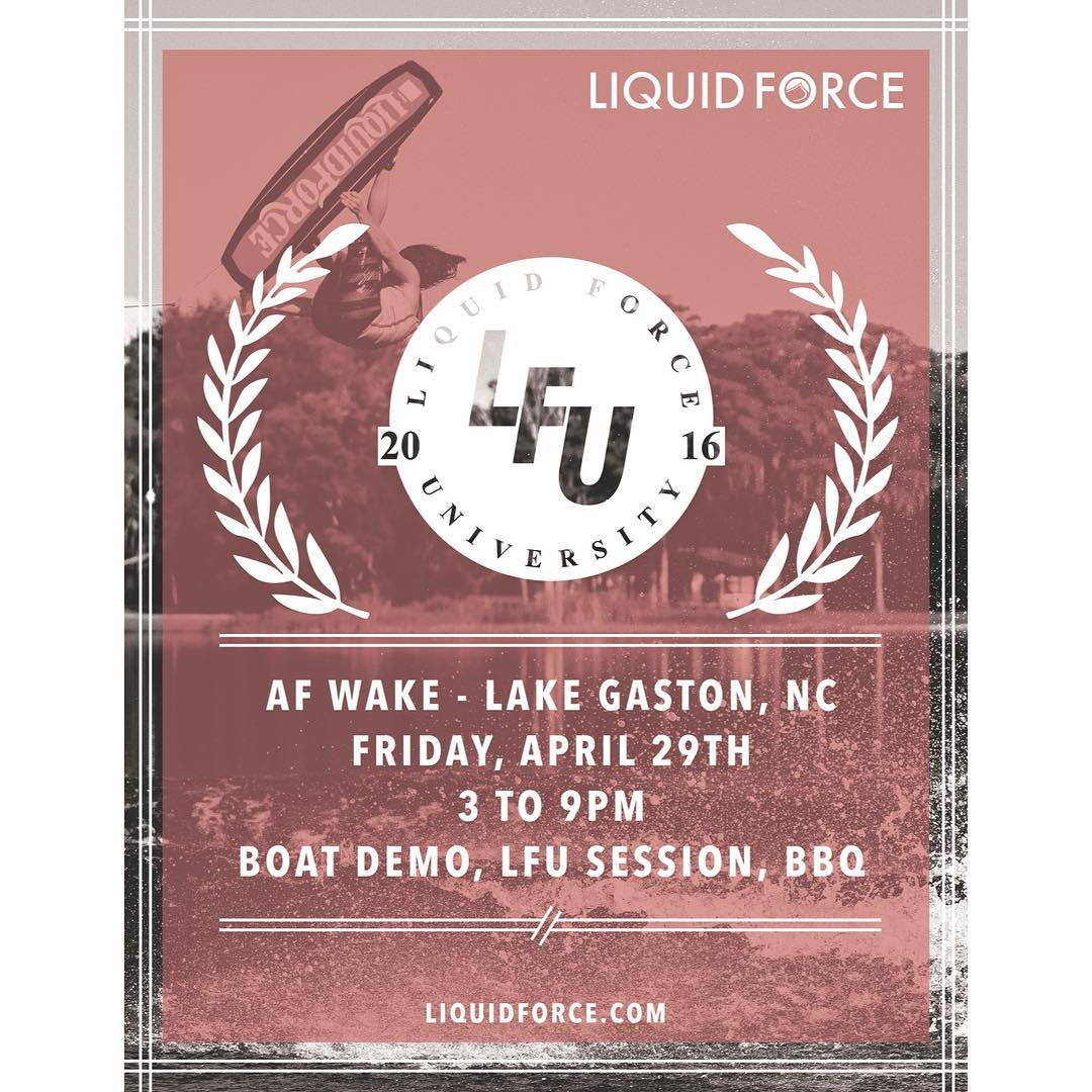 Join @bobsoven, @shawnmwatson & @drayhampson for an LFU session, BBQ, and some riding at @afwake tomorrow!  Looking forward to seeing you Lake Gaston!