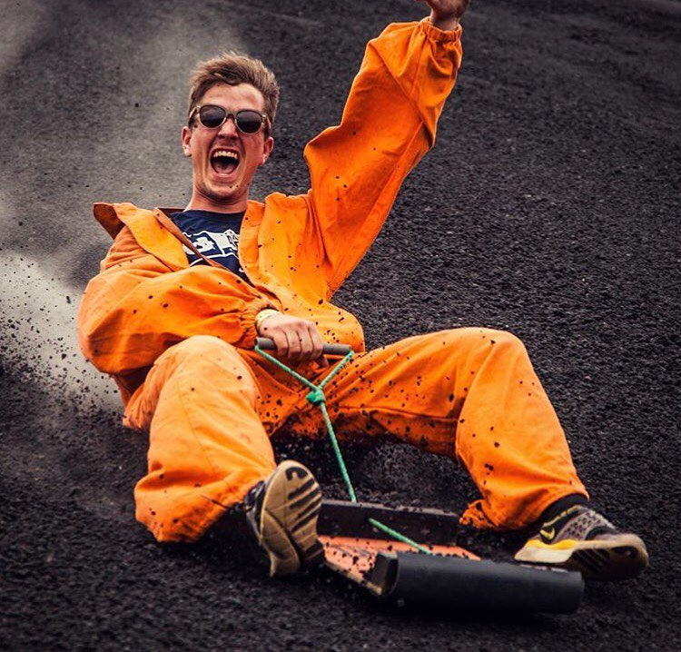 This is E P I C  @gavmastagram is going down a volcano at 65km/hr - with his SOLOs on!