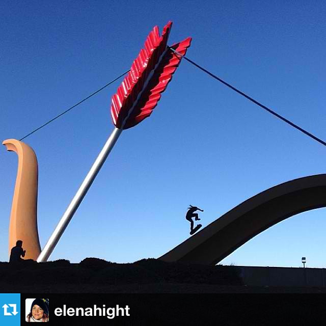 Sick photo from @elenahight had to #regram we're thinking that's @davidgonzalez hitting the bow & arrow #sanfrancisco #skatespot