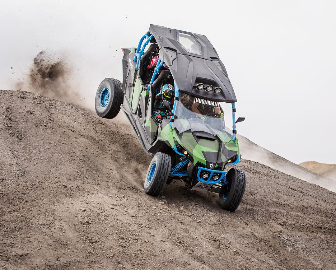 Kicking the rear out over a sliding-turn-jump in my @CanAmOfficial Maverick X RS Turbo #FamilyHauler. I could've done this 100 more times, and it still wouldn't be enough for the kids - they kept asking for more. #bestkids #qualityfamilytime #CanAm...