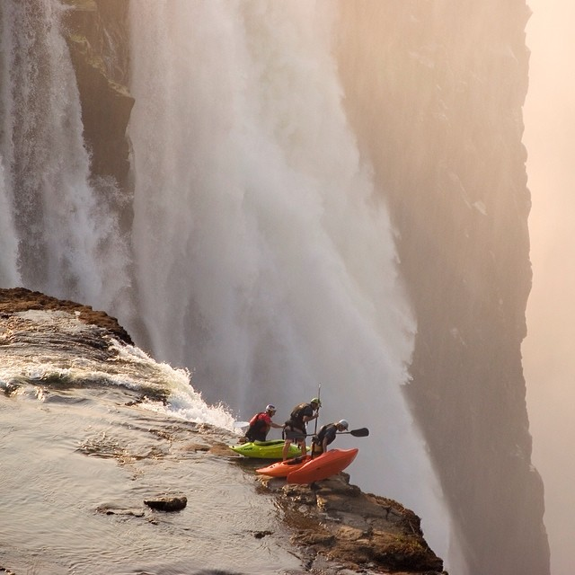 ...Ready? Desré Pickers captures this beaut of Steve Fisher and crew taking a peek at Victoria Falls