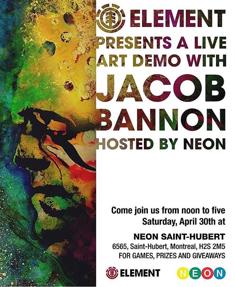 come out to see @jbannon perform live artwork at the @neonstores St. Hubert this Saturday in Montreal, Canada >>> free giveaways and prizes!