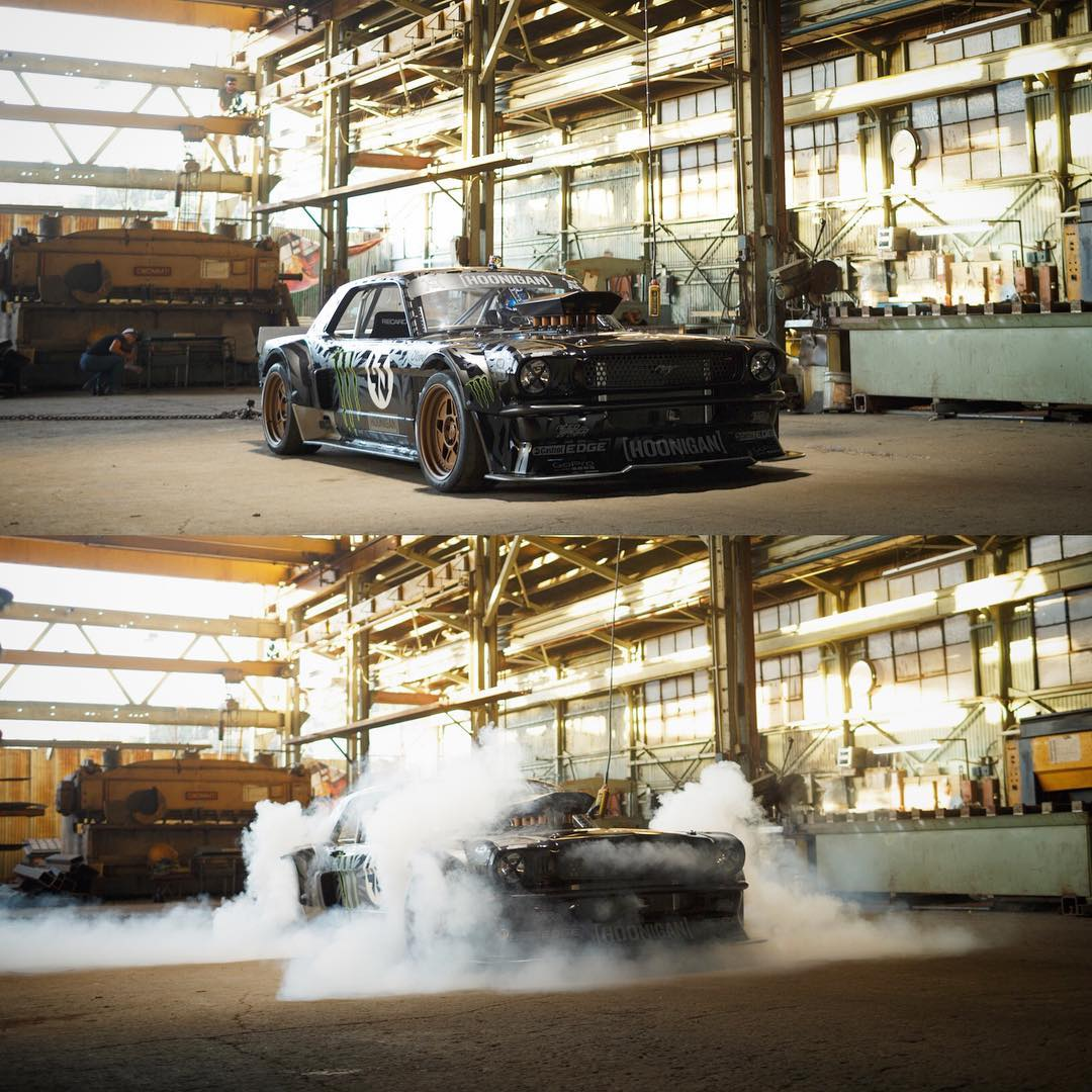 #tbt to Gymkhana 7. Fun fact: it took very little convincing to get HHIC @kblock43 to agree to chain the #hoonicorn down for some awd burnies. #killalltires #fourtirefire