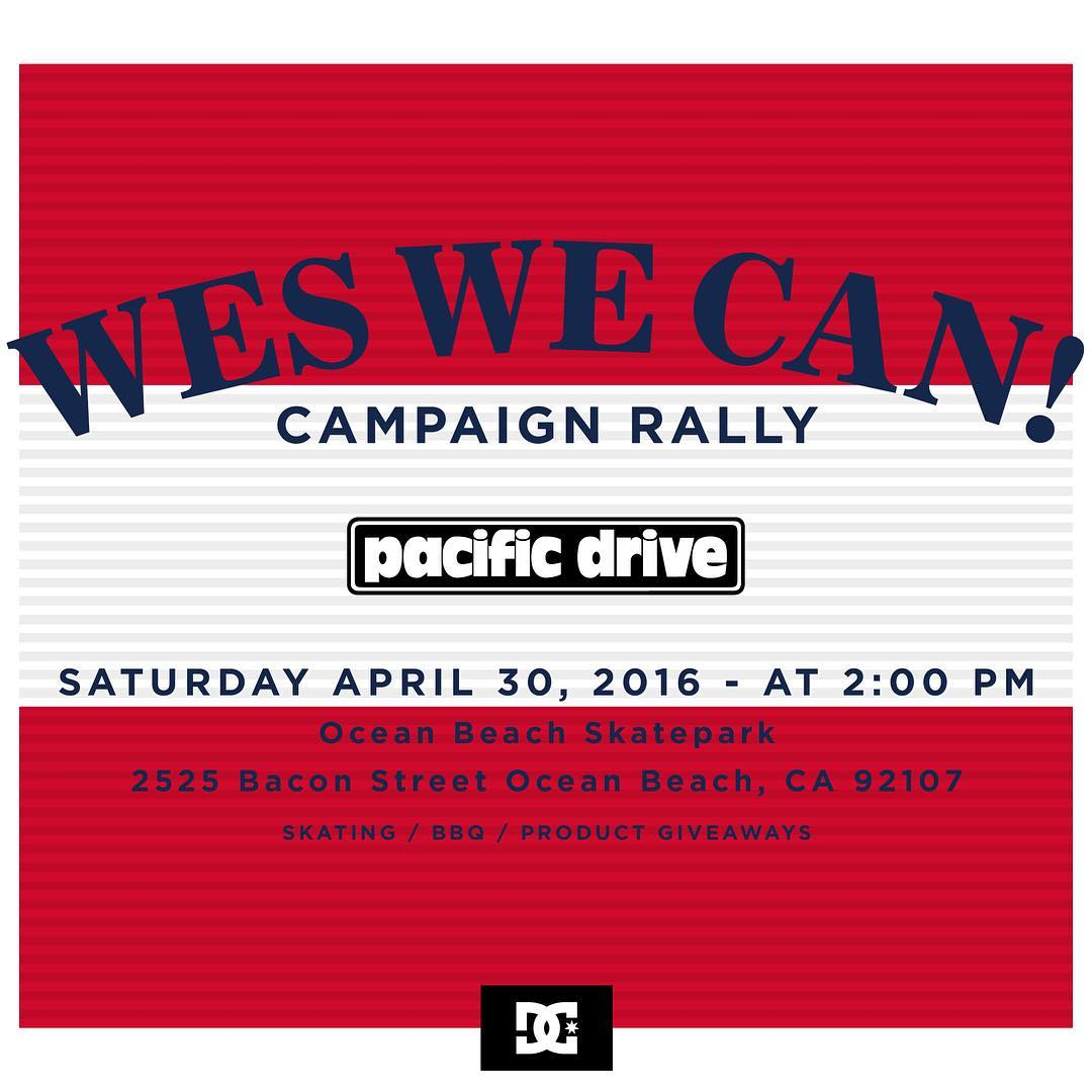 Show your support of the #WesWeCan movement tomorrow at the Ocean Beach skatepark in association with @pacific_drive! They'll be food, skating, giveaways and more! #dcshoes #weskremer