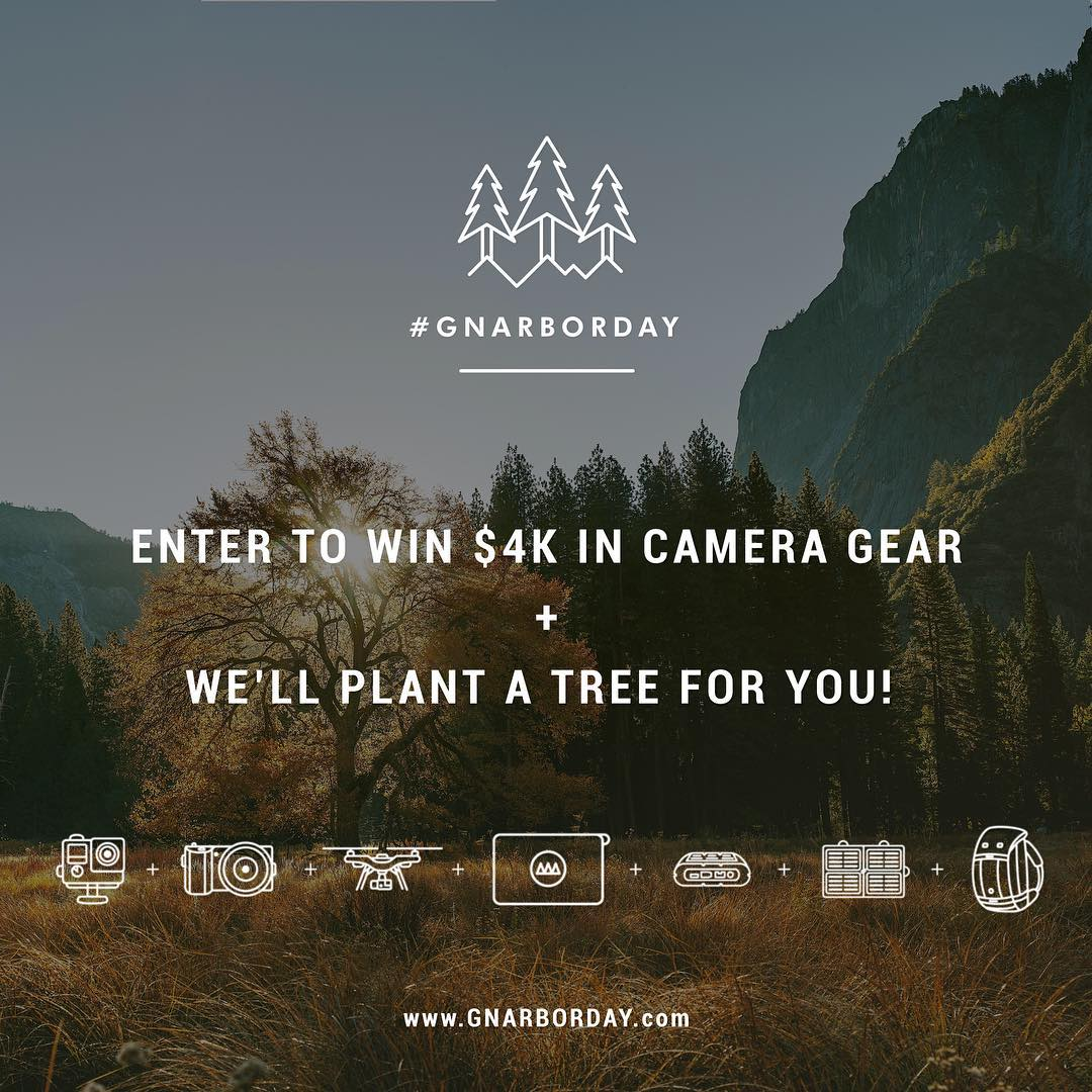Today is Arbor Day! To celebrate, we've partnered with @GNARBOX to give away over $4k in epic camera gear + we'll plant a tree for you just for signing up. Enter now atGNARBORDAY.com. Winner will be announced on Monday at 10am PST. #gopole #gnarbox