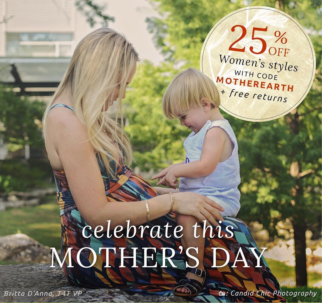 Mother's Day is around the corner! Take 25% off Women's styles to celebrate Mother's Day and Mother Earth with sustainable styles every woman will love! #shop #sale #mothersday #motherearth #fashion #style #sustainable