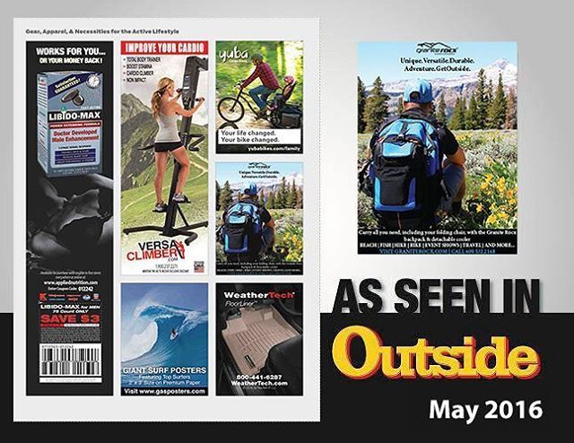 We're back in Outside Magazine's May 2016 Issue! The #summer is quickly approaching! For more information on our products, check out our website in our profile. #getoutside #xplorewild #graniterocx #outdoorsrocx #backpacks #coolers