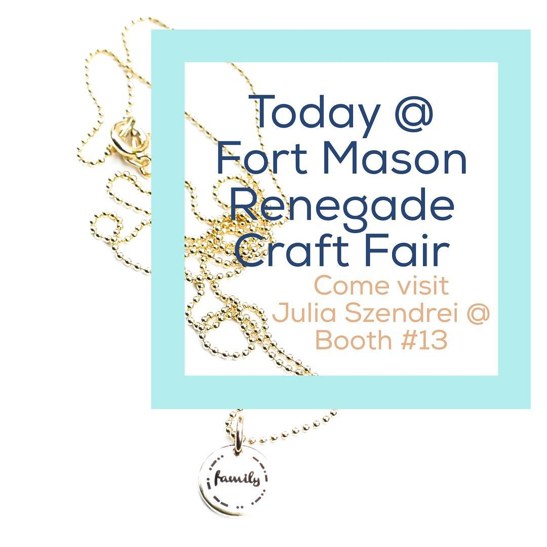 Looking for adventure and curiosity? Come visit us at the #RenegadeCraftFair over at #FortMason today and tomorrow from 11-6. Makers of all mediums under one roof.  And because it's a beautiful day you absolutely should get out in the...