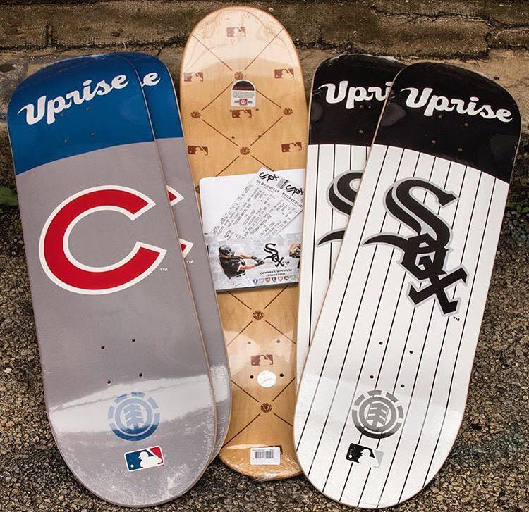 @upriseskateshop has Chicago dialed in with the #elementxMLB limited edition boards, they've also raffle for free tickets going on this weekend only >>> here's every shop and their exclusive team:  @ftchaight - SF Giants @escapistskate - KC...