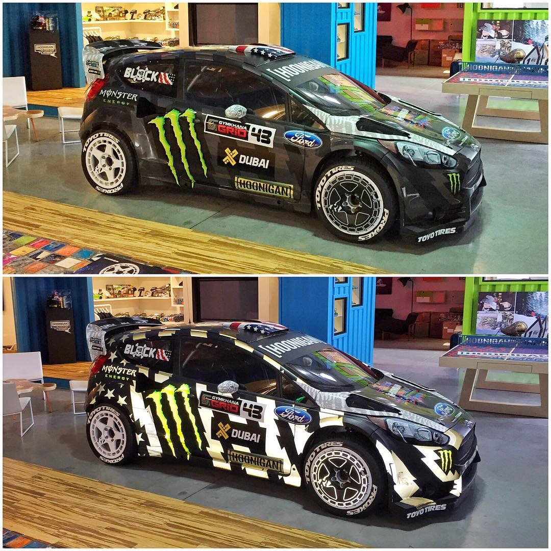 Two shots of my Ford Fiesta #RX43 in the lobby of #HRD_HQ: top shot is with the flash off, and bottom is with the flash on. I still really love this livery we made for #GymkhanaEIGHT - I think it is one of my favorites of my entire career. #lobbyart...