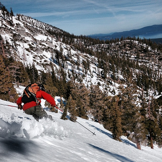 Hot powder on Jake's today.  West shore of Lake Tahoe.