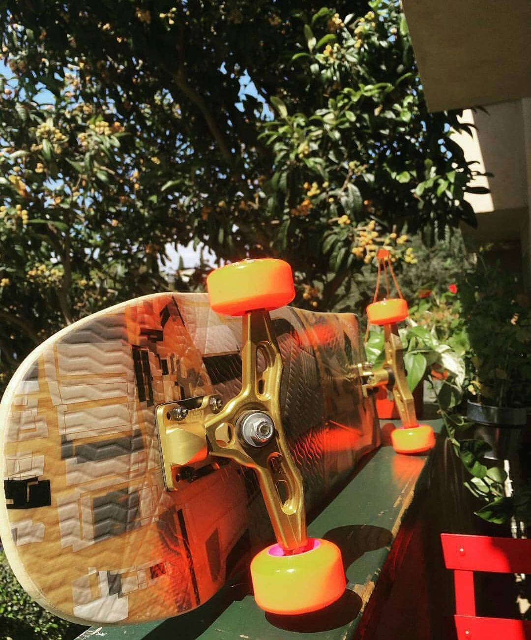Freshies for the weekend!  Loaded Overland, Orange Orangatang Skiffs, Gold AF Aera Trucks.  #LoadedBoards #Overland #Orangatang #Skiffs
