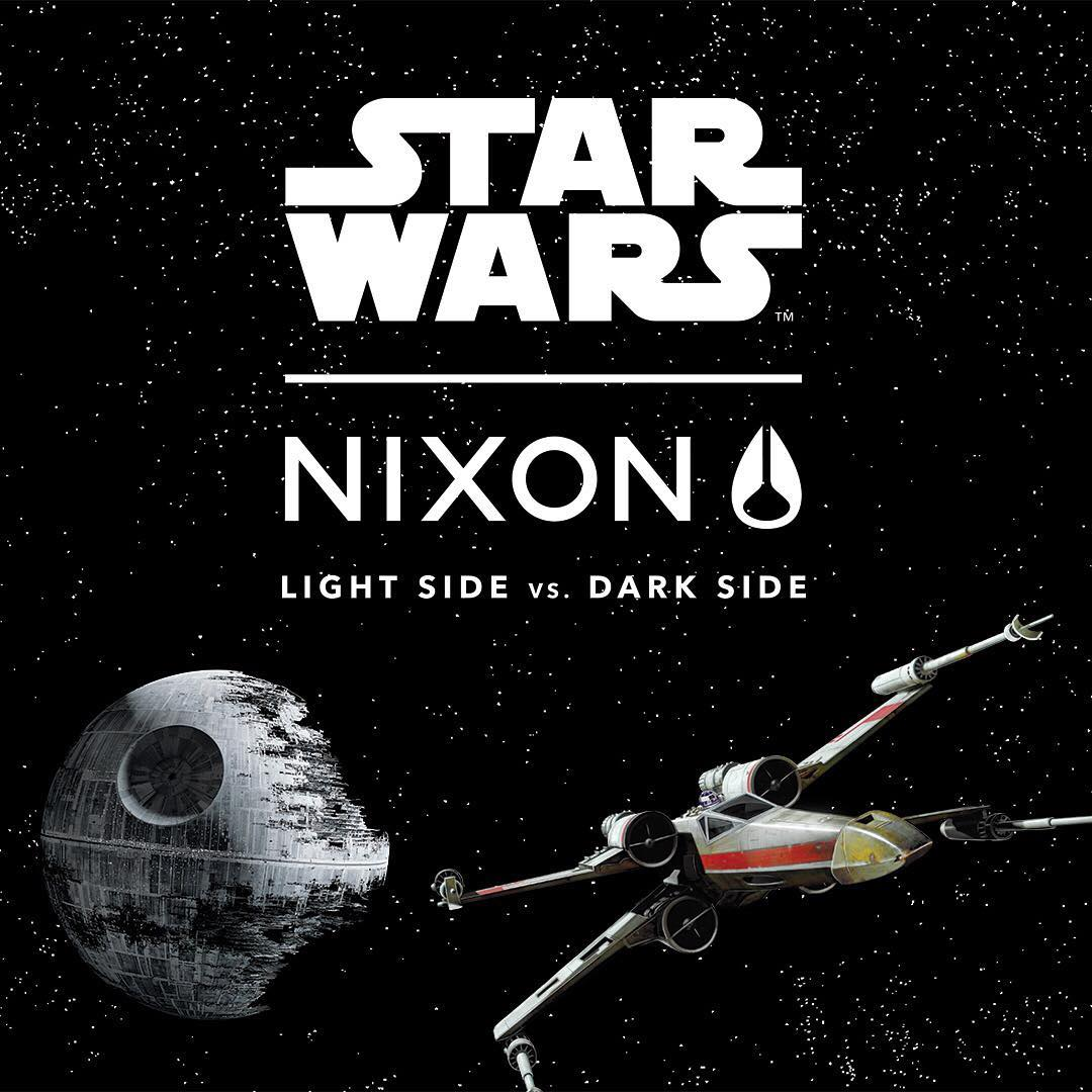 The Lightside and Darkside square off in the new range from @starwars | #Nixon collection. #StarWars #Maythe4thbewithyou #LightSide #DarkSide #RebelPilot #DarthVader #DeathStar