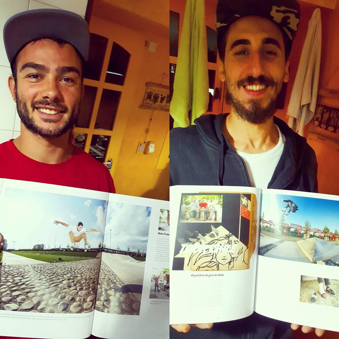 Sonrisas de misión cumplida ! @sebafrancoskate y su #megaollie y @jonyrodriguezskt con su #fsflip con pie esguinzado durante el #chiletour.  Todo plasmado en @latabla, gracias !  #slp #slpskateboards #revista #skateboarding