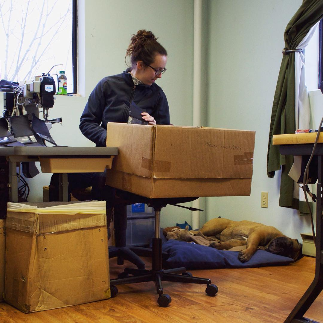 Music, natural light, and the dog snoring. This is what Made in USA looks like to us. #Flowfold  Max and her gorilla-dog Watson cruising through Monday at the workshop.