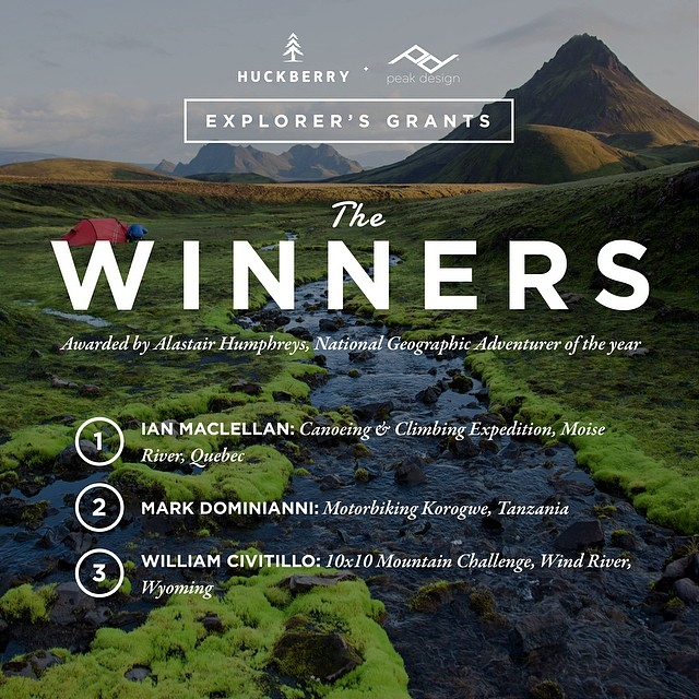 Announcing the winners of the first ever @huckberry Explorers Grants! Some epic trips are about to take place, and we can't wait to watch. Huge props to @al_humphreys for painstakingly choosing these deserving entries.