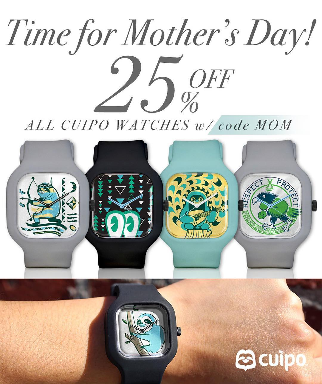 The clock is ticking to get Mom the perfect gift for #MothersDay! Shop now until TONIGHT at 11:59pm PST to get @ModifyWatches X #Cuipo for 25% off! Link to shop in bio. #SaveRainforest #ModifyWatches #GiftGuide #MothersDaySale #Mom