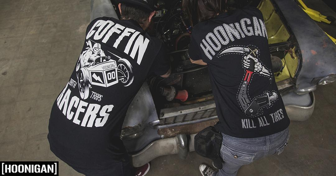 Two of our favorite tees are back online over at #hooniganDOTcom. #coffinracers #reaper