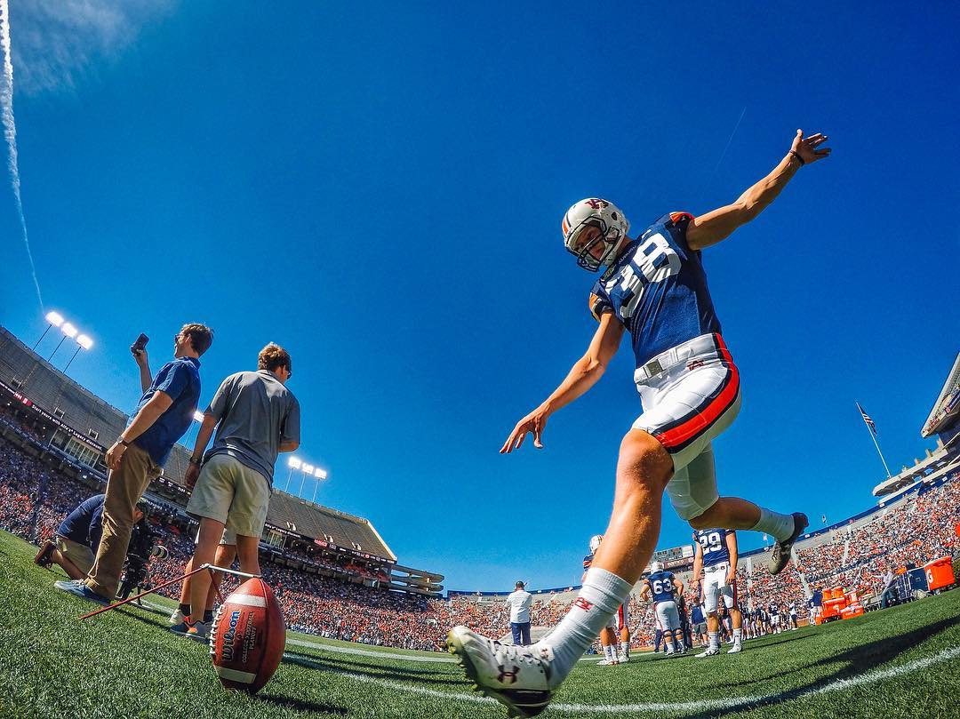 Photo of the Day! Laces out, Dan! Our man @jakegevans caught #Auburn kicker @danielcarlson38 lowering the boom. On your football grind? Share with us via link in our bio.  #GoPro #Auburn #CollegeFootball