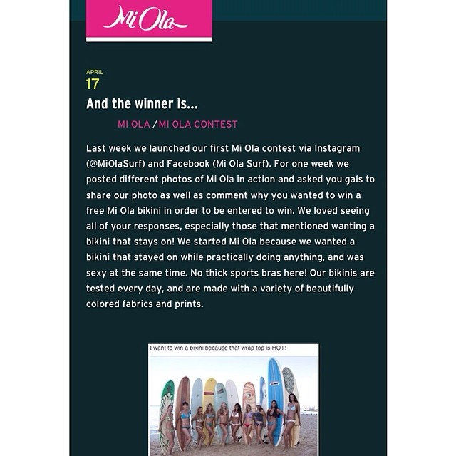 And the winner is... Thank you chicas for participating in our Instagram and Facebook contest last week. Check out some of the great reasons to win a Mi Ola bikini on our blog! #miola #bikiniblog #sexybikinisthatstayon #miolablog mi-ola.com/blog