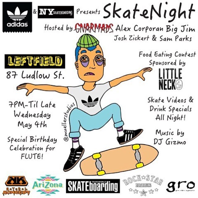 Get ready for a exciting evening Tomorrow ....for a rocking special bday celebration for @flutura at #SKATENIGHTNYC @leftfieldonludlow  with a surprise guest performance I also with a  fabulous tasty eating contest by @littleneck_nyc | Presented by...