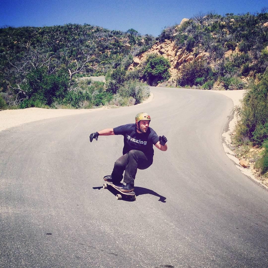 Bonzing founder Austin Graziano--@austin_bonzing in the Santa Barbara mountains testing some new wood!