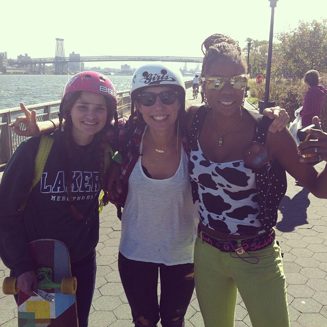 Some of the #lgcopen riders reunited in #newyorkcity for #broadwaybomb! Micaela Wilson, @valeriakechichian & @camibeast after the race #wedidntdie #girlstoke