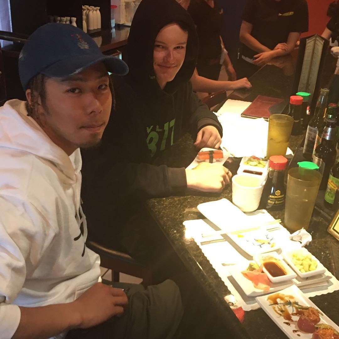 @juicyyjokerr and @shoma3 enjoying some sushi today in #Reno -Garretts first sushi experience and Shoma was very impressed with our all you can eat spots food quality. #weareOK | #handmadeusa | #forridersbyriders | #smokinsnowboards