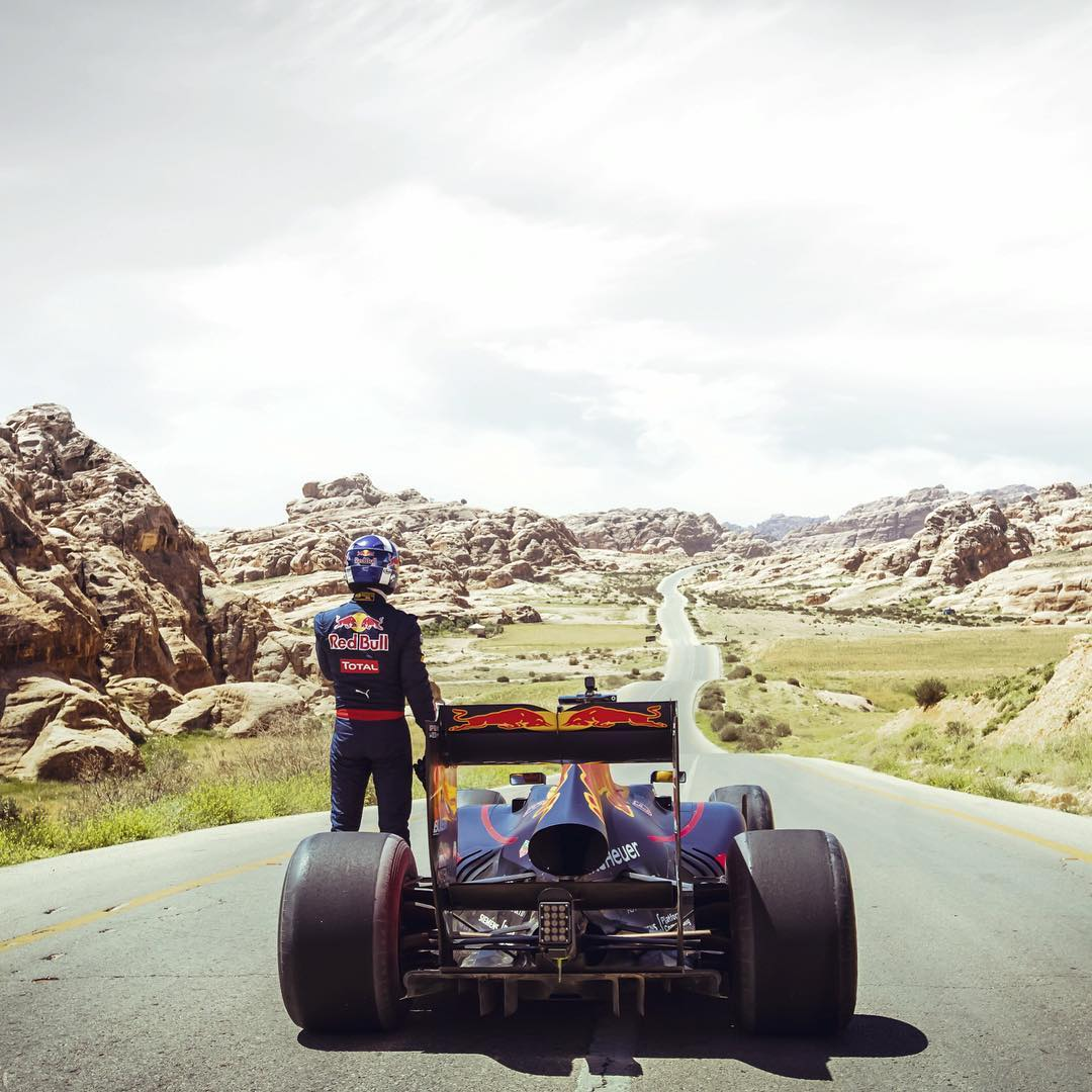 """It's like Mars!"" David Coulthard takes the @redbullracing RB7 out for a spin in the Wadi Rum desert, Jordan. @redbulljor Dealing with crosswinds and high temperatures, the race driver reached the final destination: the ancient city of Petra."