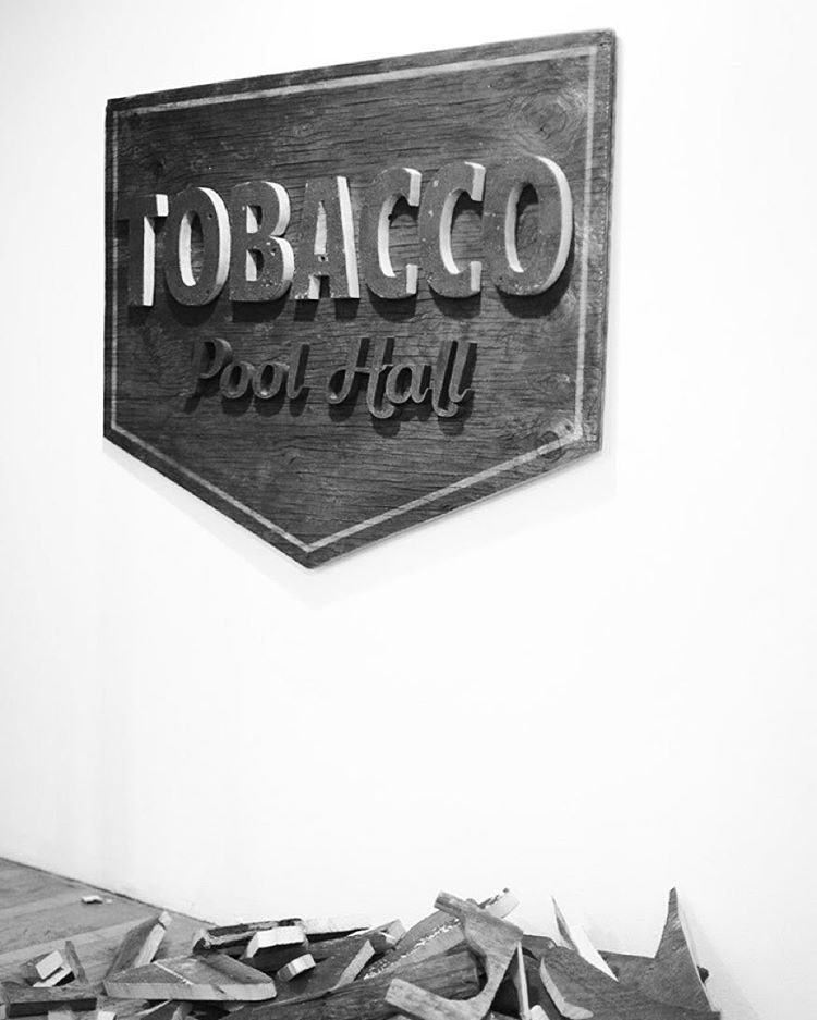 Another piece from Letterforms at @mingogallery up until July 2nd. Everything is hand cut from 150 year old wood. Open daily. #letterforms #typography #signage #vintage #tobacco #poolhall #wood #scrollsaw #steezdesign #beverlyma