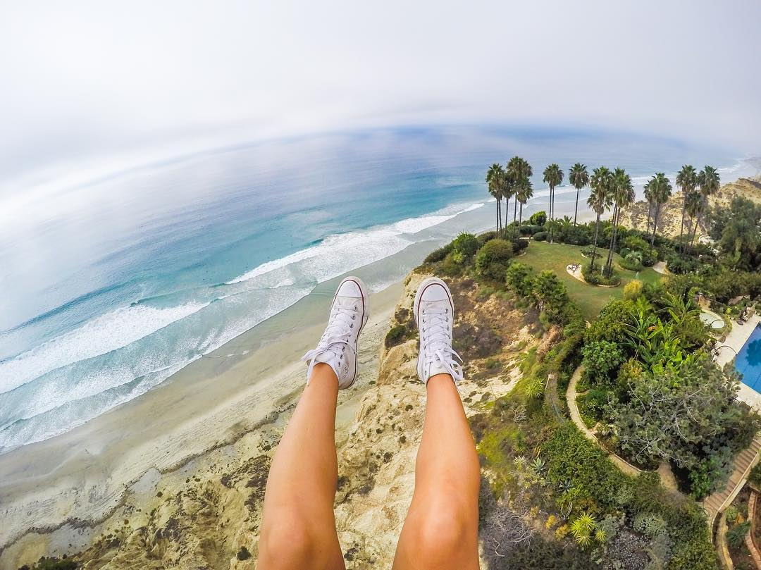 Hi again! It's @TheBlondeAbroad sharing some of my favorite #GoPro travel photos. This is from a #paragliding adventure in #TorreyPines!  One thing I love about my GoPro is how creative you can get with your photography. I'm absolutely terrified of...