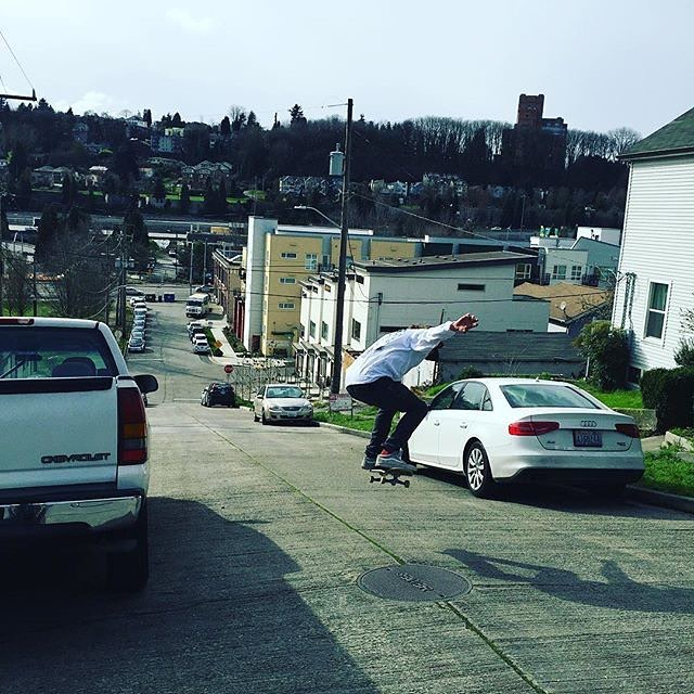 Here, we have a photo that I shot of @mitch_stfg doing an Ollie over a manhole cover into a hill bomb when all the boys came to Seattle. This hill wasn't super long, but it was extremely steep and went right into a busy road. Mitch slid out multiple...