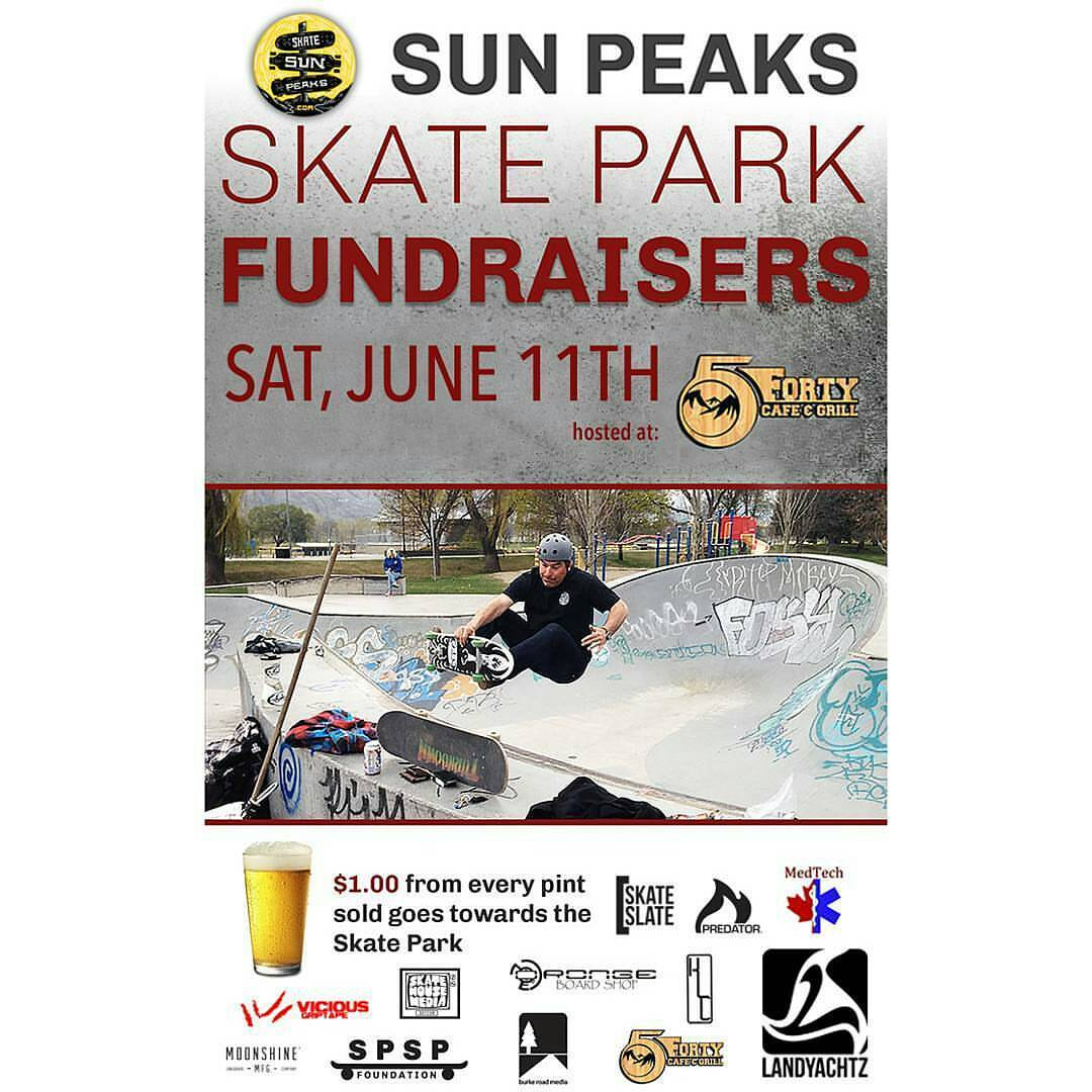 "If your off to skate the ""made to longboard"" track at Sun Peaks go tip your hat at the #5fortycafe and chip in to those working towards building a city skate park! $1 from every pint goes towards the skate park foundation!  #skatesunpeaks #sunpeaks..."
