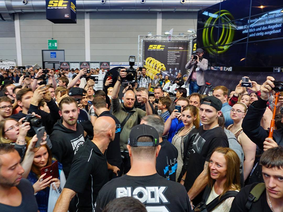 Just a sliiiightly large crowd here today at Tuning World Bodenese for my autograph session with @STSuspensions. Slightly. Ha! It was great to see so many passionate fans here, Germany treats me well! #STSuspensions #bestfans