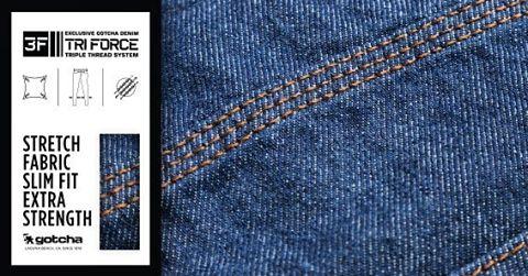 Nuestra linea de #jeans esta fabricada para brindarte la mayor comodidad y fuerza; la triple costura y el elastano trabajan en conjunto para logralo. #TriForce #gotcha  #iconsneverdie