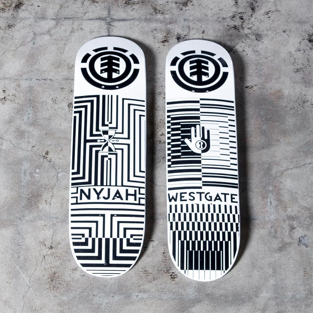 "meet the all new ""Optical"" board series, featuring Helium construction, making these the lightest and strongest Element boards made >>> boards available include a @westgatebrandon (8.0"") and @nyjah (8.25"")"