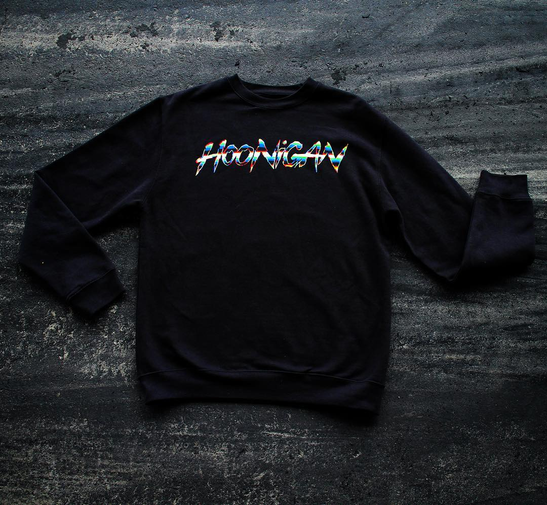 You may have noticed that HHIC @kblock43 and teammate @andreasbakkerud now boast the Hoonigan by @felipepantone Collection script logo on their front bumper for the 2016 season. It's available on this crew neck fleece, and more on #hooniganDOTcom.
